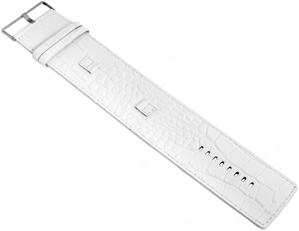 Raptor Echtleder-Uhrenarmband, weiß, Krokooptik, 10 mm