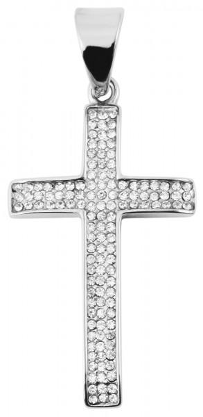 Akzent Edelstahlanhänger, Kreuz mit Similisteinen, silberfarbig