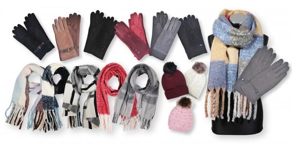 Winterpaket bestehend aus 30 Schals, 10 Mützen und 10 Handschuhen