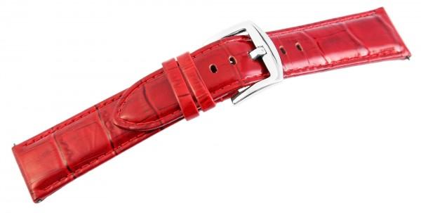 Echtleder-Uhrenarmband, rot, Krokooptik, 22 mm / 26 mm