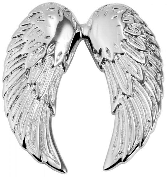Akzent Flügel Edelstahlanhänger, silberfarbig , Länge: 40 mm / Breite: 36 mm / Stärke: 4 mm