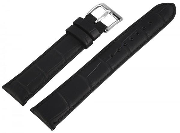 Echt Lederarmband, schwarz, Alligatorprägung, 18 mm